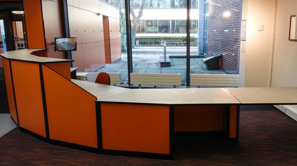 stephenson building reception center counter Teksol LTD furniture specialists.