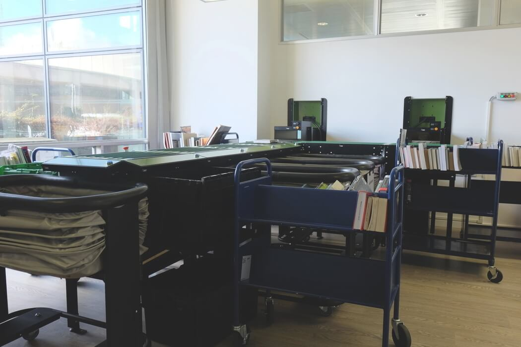 Book sorter room, teksol, library,
